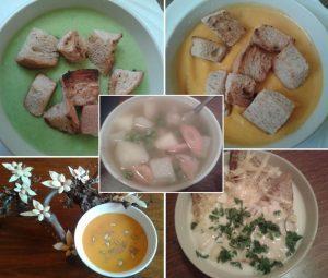Húsleves, zöldborsókrémleves, sárgarépakrémleves, sütőtökkrémleves, francia hagymakrémleves egy képen