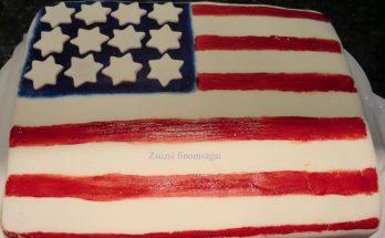 Amerika zászló alakú csokoládé torta