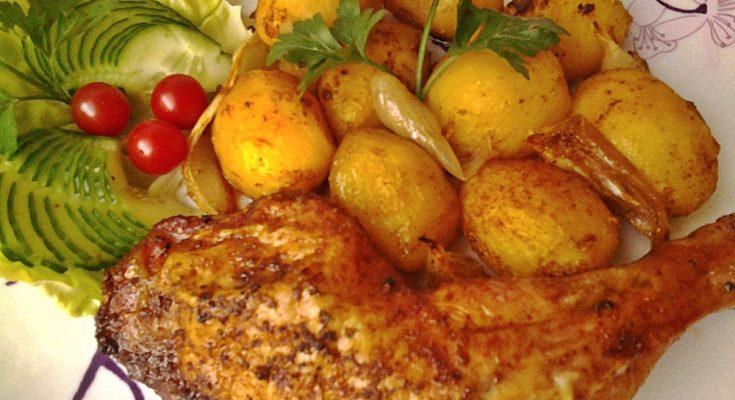 Fűszeres csirkecomb velesült burgonyával