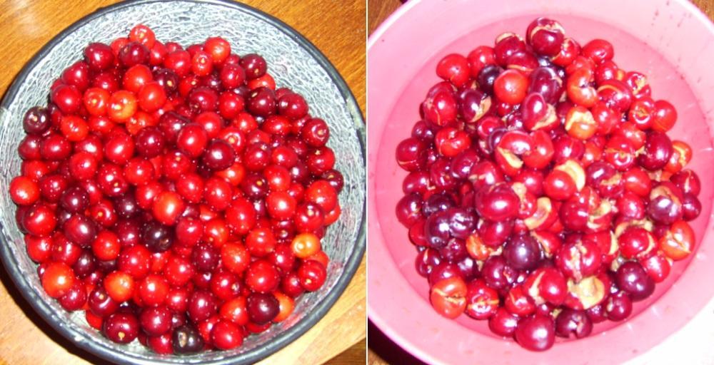 A megmosott és kimagozott cseresznye