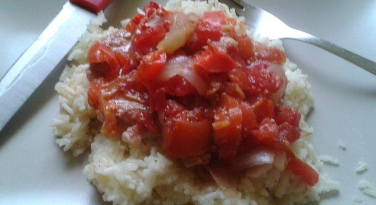 Lecsós szelet főtt rizzsel