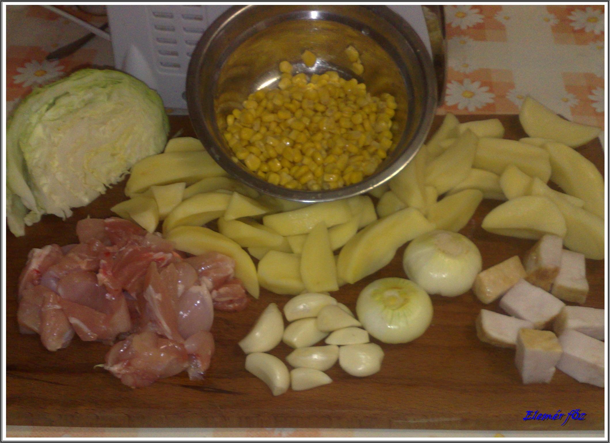 Darált csirkehús és zöldségek